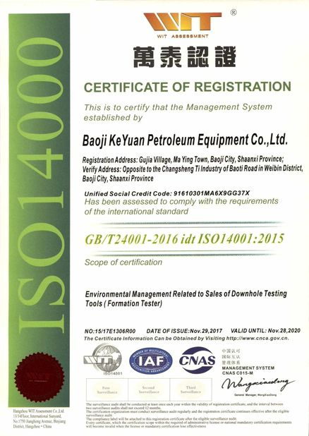 China Techcore Oil Tools Co.,Ltd, Certification